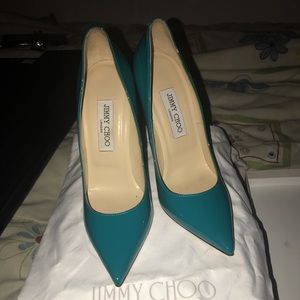 JIMMY CHOO TURQUOISE PATENT LEATHER STILETTOS